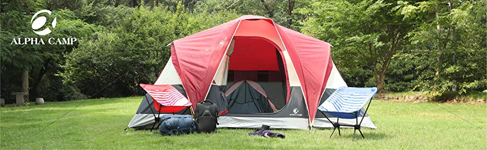 ALPHA CAMP 6 Person Tent Extended Dome Tent for Camping ...