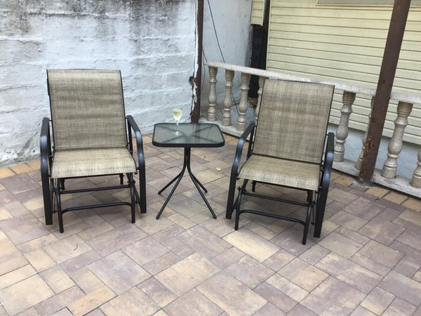 Patio Furniture For Over 300 Lbs.Phi Villa Patio Swing Glider Set 3 Pc Bistro Set With 2 Rocking