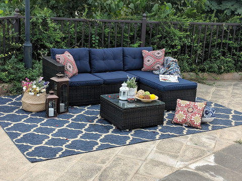Blue cushion rattan set