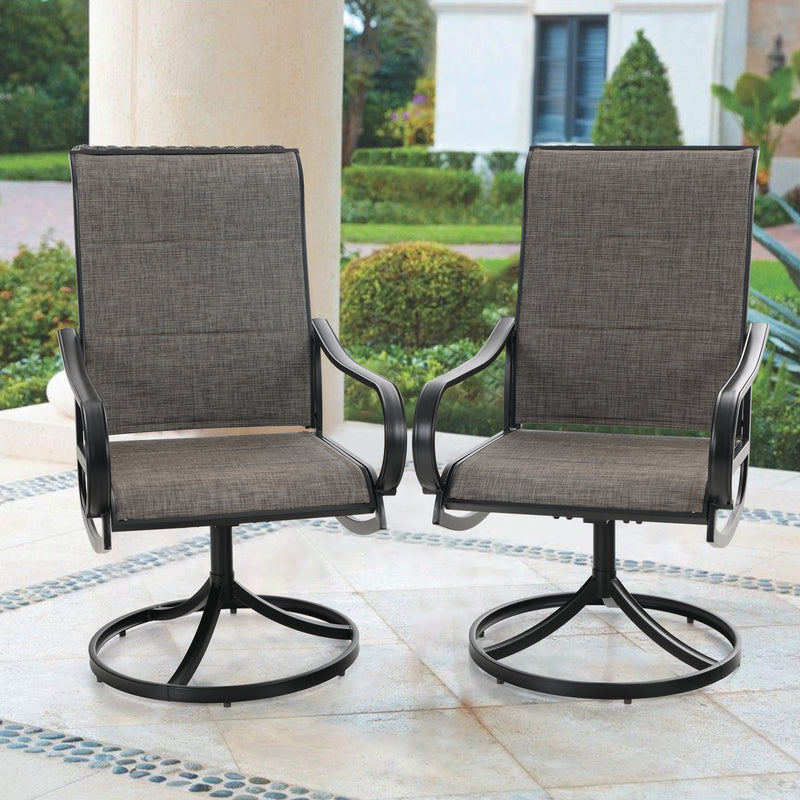 PHI VILLA Padded Patio Dining Chair with Steel Frame