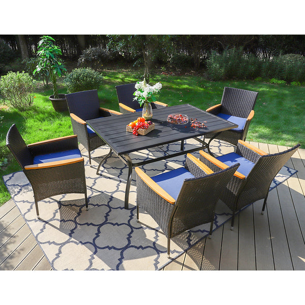 PHI VILLA Steel Rectangle Table & 6 Rattan Cushioned Dining Chairs 7-Piece Outdoor Dining Set is $127 (31% off)