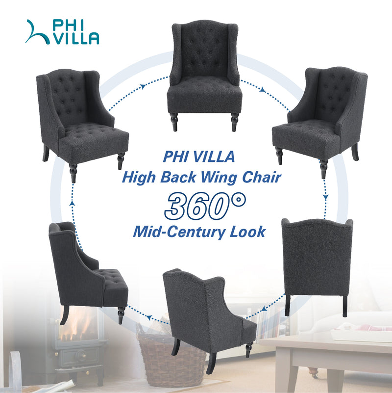 PHI VILLA Mid Century Modern Accent Living Room Wingback Chair
