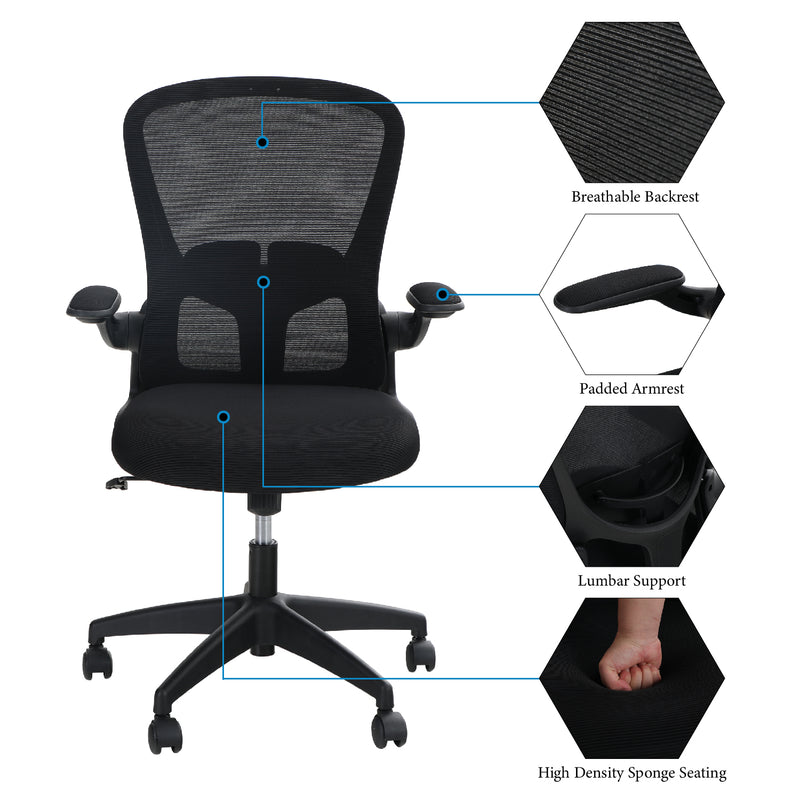 PHI VILLA Mesh Swivel Office Rocking Chair with Adjustable Armrest