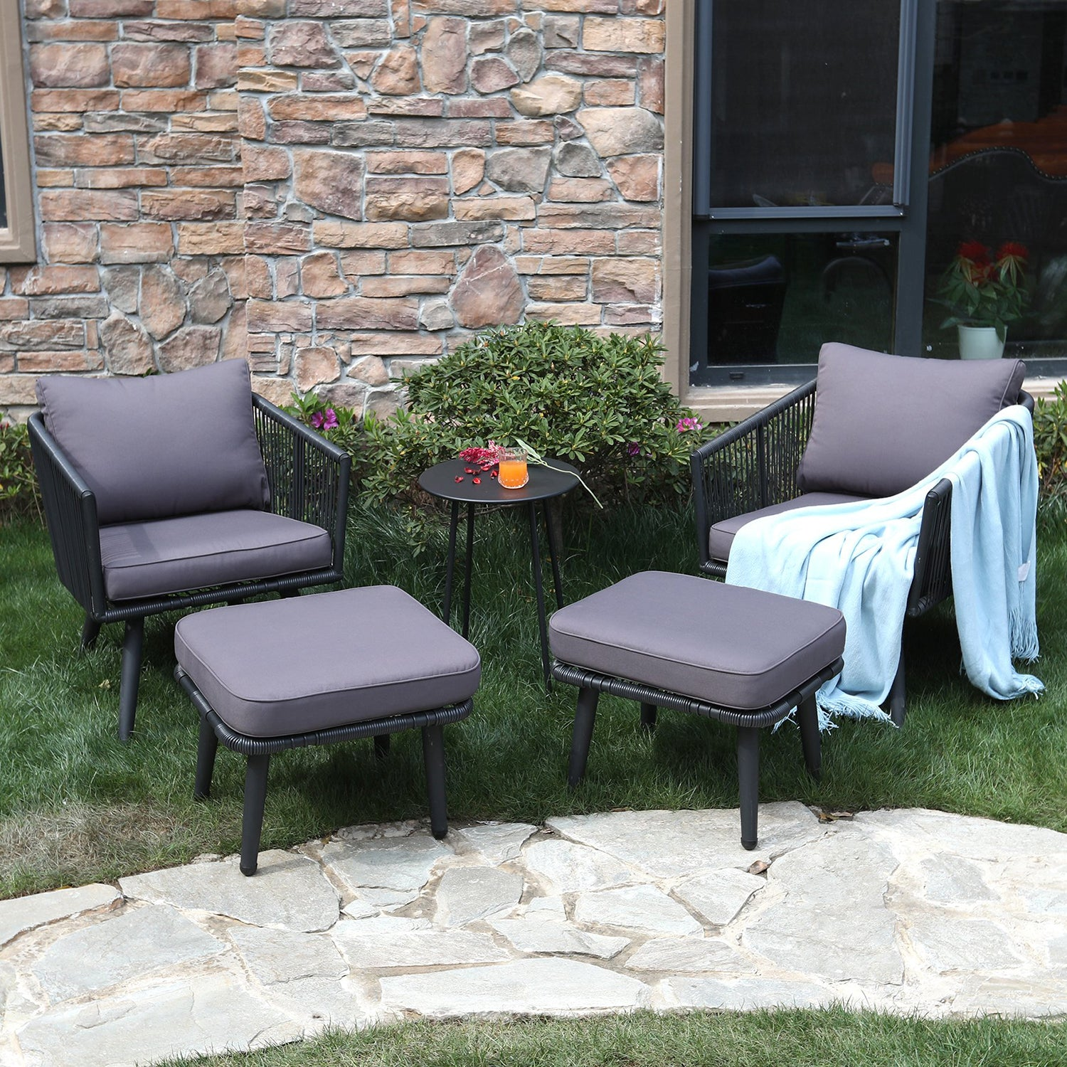 Phi Villa Patio Furniture Set Rattan Sofa Ottoman