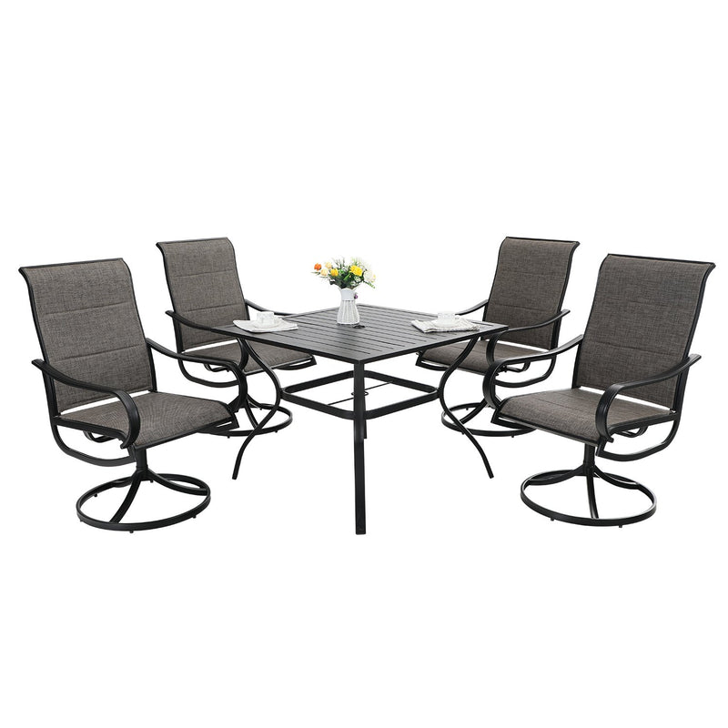 PHI VILLA 1 Steel Square Table & 4 Textilene Chairs 5-Piece Outdoor Patio Dining Set