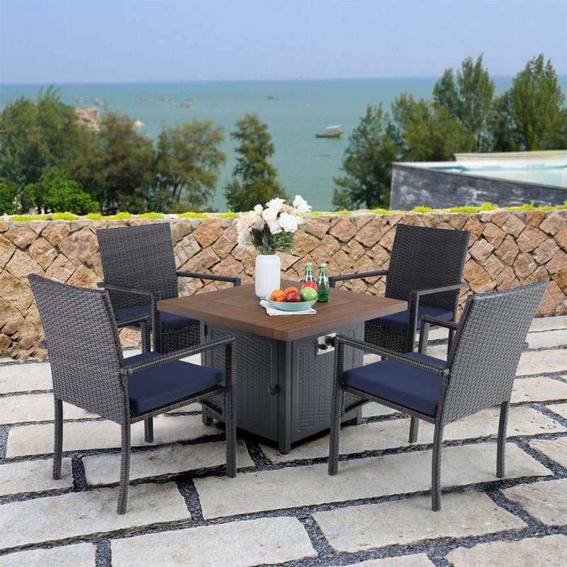 PHI VILLA 7 Piece Metal Outdoor Patio Dining Set - 1 Rectangle Table and 6 Chairs