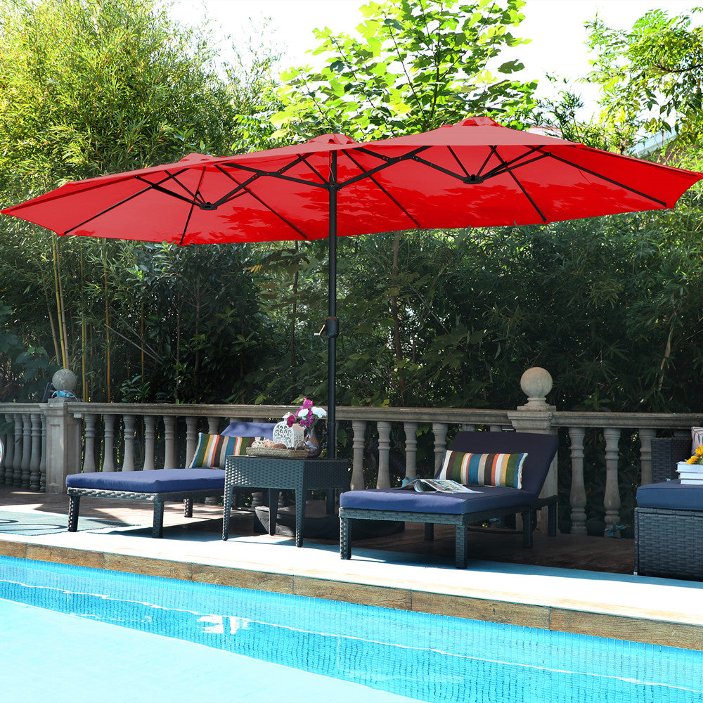 Alphamarts coupon: PHI VILLA 15ft Double-Sided Extra Large Patio Twin Umbrella Red