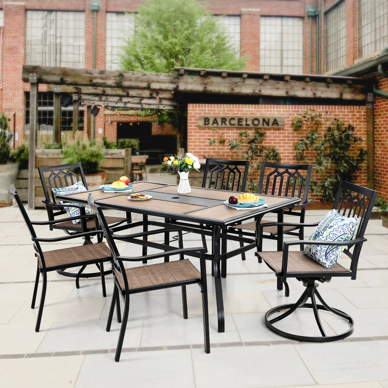 PHI VILLA 7 Piece Metal Outdoor Patio Dining Set - 1 Geometric Rectangle Table and 6 Chairs