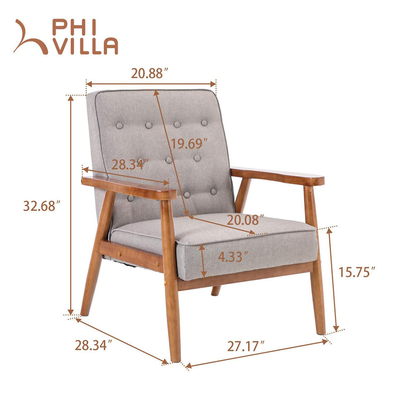 PHI VILLA Accent Fabric Upholstered Living Room Lounge Chair with Oak Frame, Grey