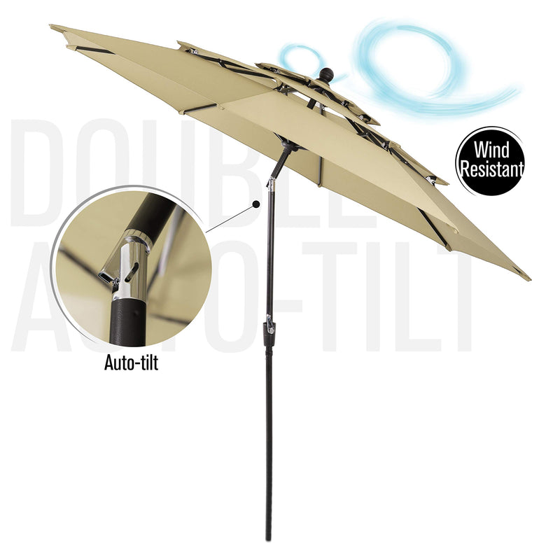 PHI VILLA 10ft 3 Tier Auto-tilt Patio Umbrella Outdoor Double Vented Umbrella