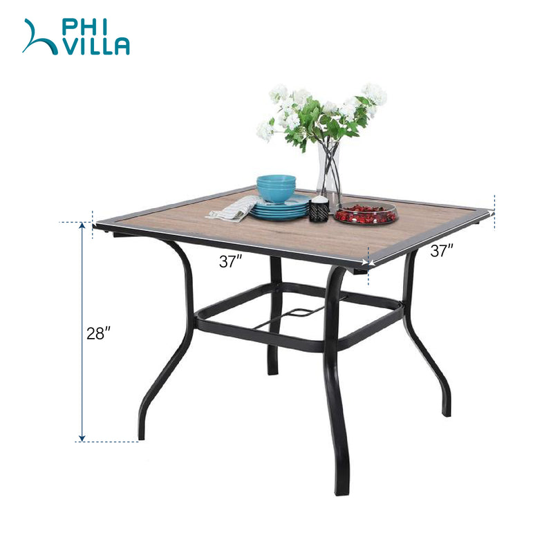PHI VILLA Wood-look Table and 4 Pattern Swivel Chairs with Cushion 5-Piece Metal Outdoor Patio Dining Set