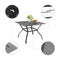 PHI VILLA 1 Mesh Metal Table and 4 Stripe Chairs 5-Piece Steel Outdoor Patio Dining Set