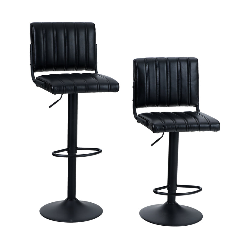 PHI VILLA Adjustable L Shape PU Leather Swivel Kitchen Bar Stools, Set of 2