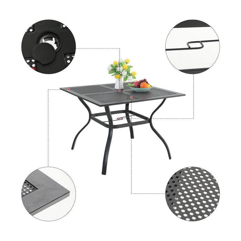PHI VILLA Mesh Steel Square Table & 4 Rattan Swivel Chairs 5-Piece Outdoor Dining Set