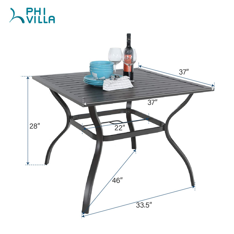 PHI VILLA Steel Square Table and 4 Patterned Stackable Chair 5-Piece Outdoor Dining Set