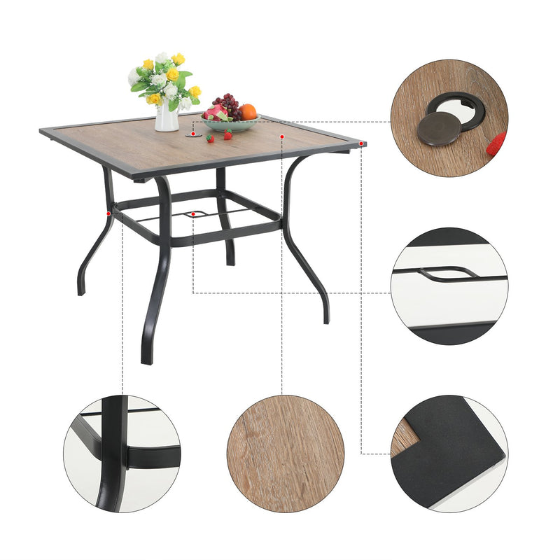PHI VILLA Wood-Look Square Table & 4 Rattan Swivel Chairs 5-Piece Outdoor Dining Set