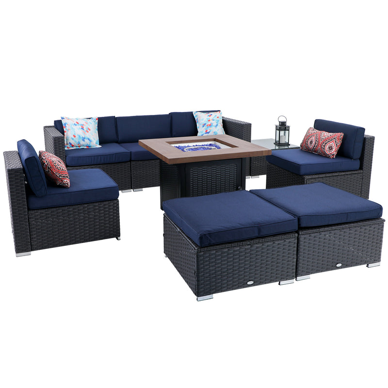 "PHI VILLA 9-Piece 34"" 50,000BTU Wood-look Gas Fire Pit Table & Rattan Wicker Sectional Sofa"