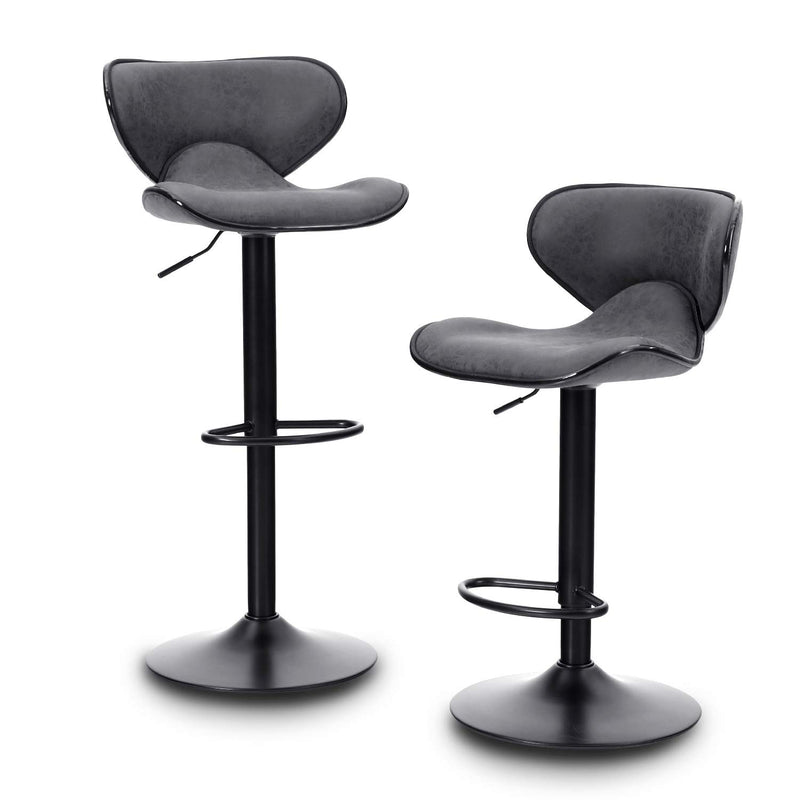 PHI VILLA Counter Height 360 Degree Swivel Square Bar Stools, Set of 2