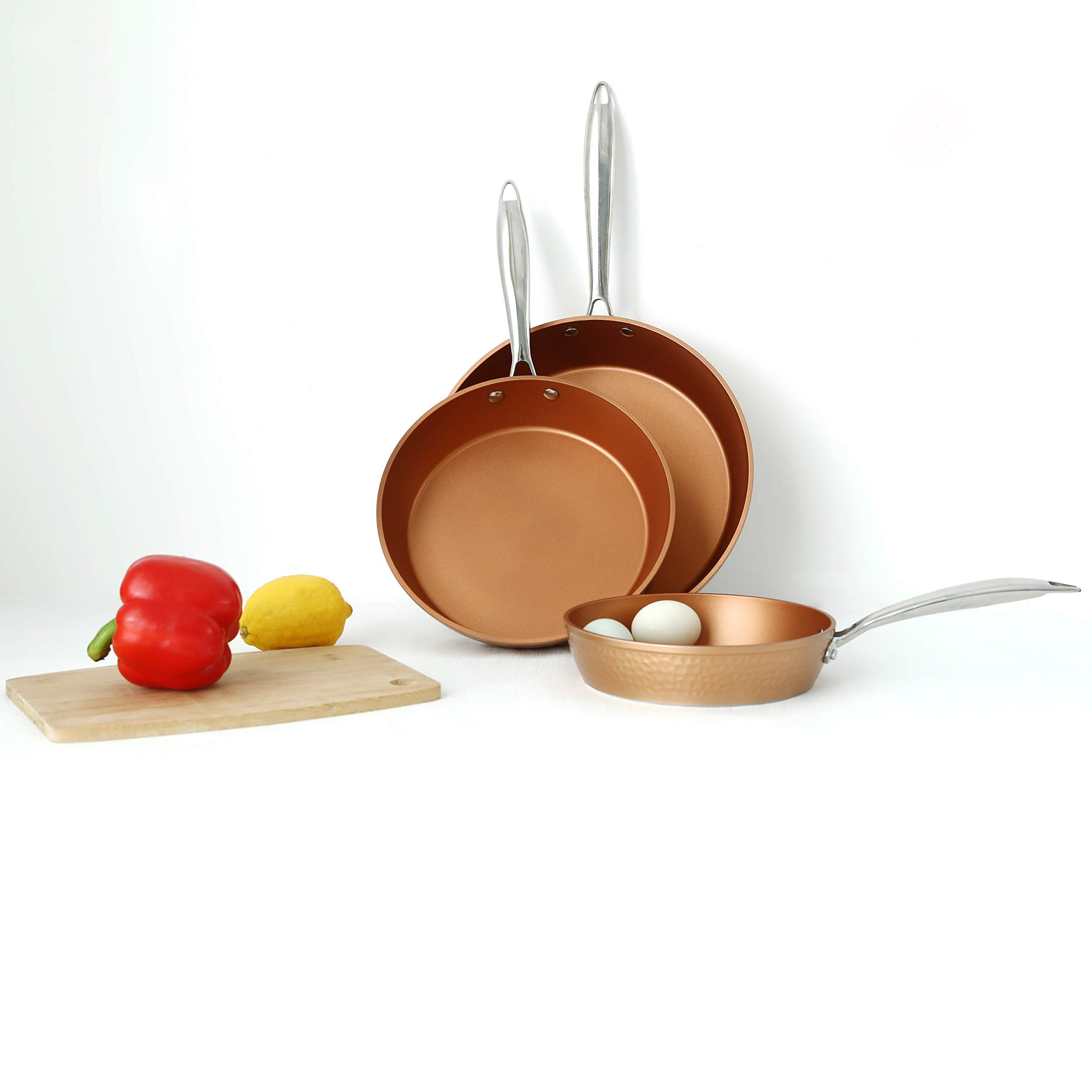 Alphamarts coupon: Kitchen Academy Red Copper Hammered Induction Cookware Set Nonstick 3 Piece-Hammered