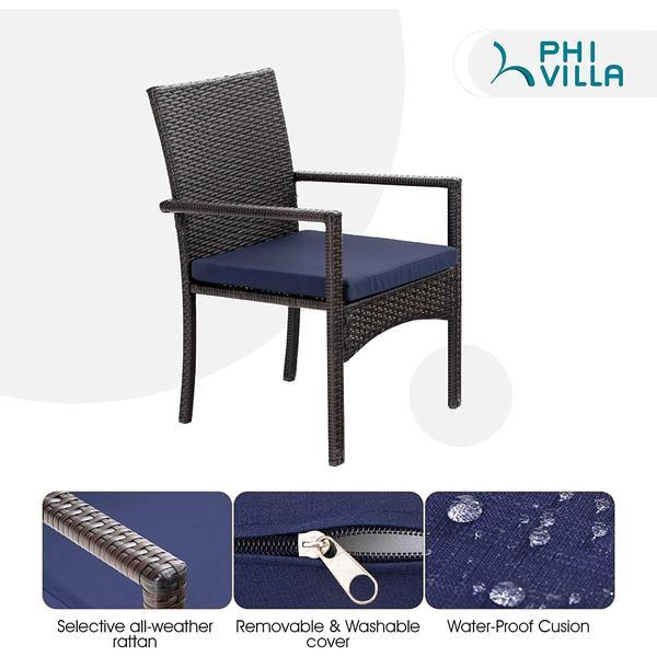 Phi Villa Geometric Table & 6 Rattan Chairs with Cushions 7-Piece Outdoor Patio Dining Set