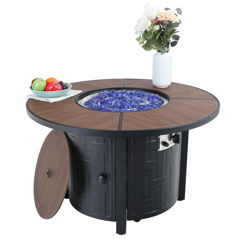 "PHI VILLA 40"" 50,000 BTU Wood-look Metal Round Gas Fire Pit Table"