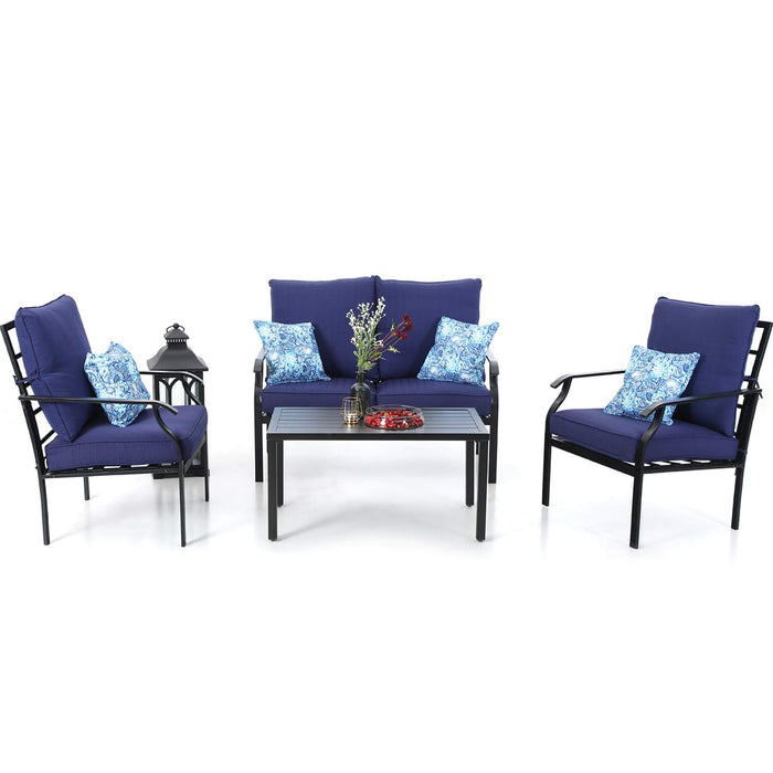 PHI VILLA Metal 4 Piece Outdoor Patio Furniture