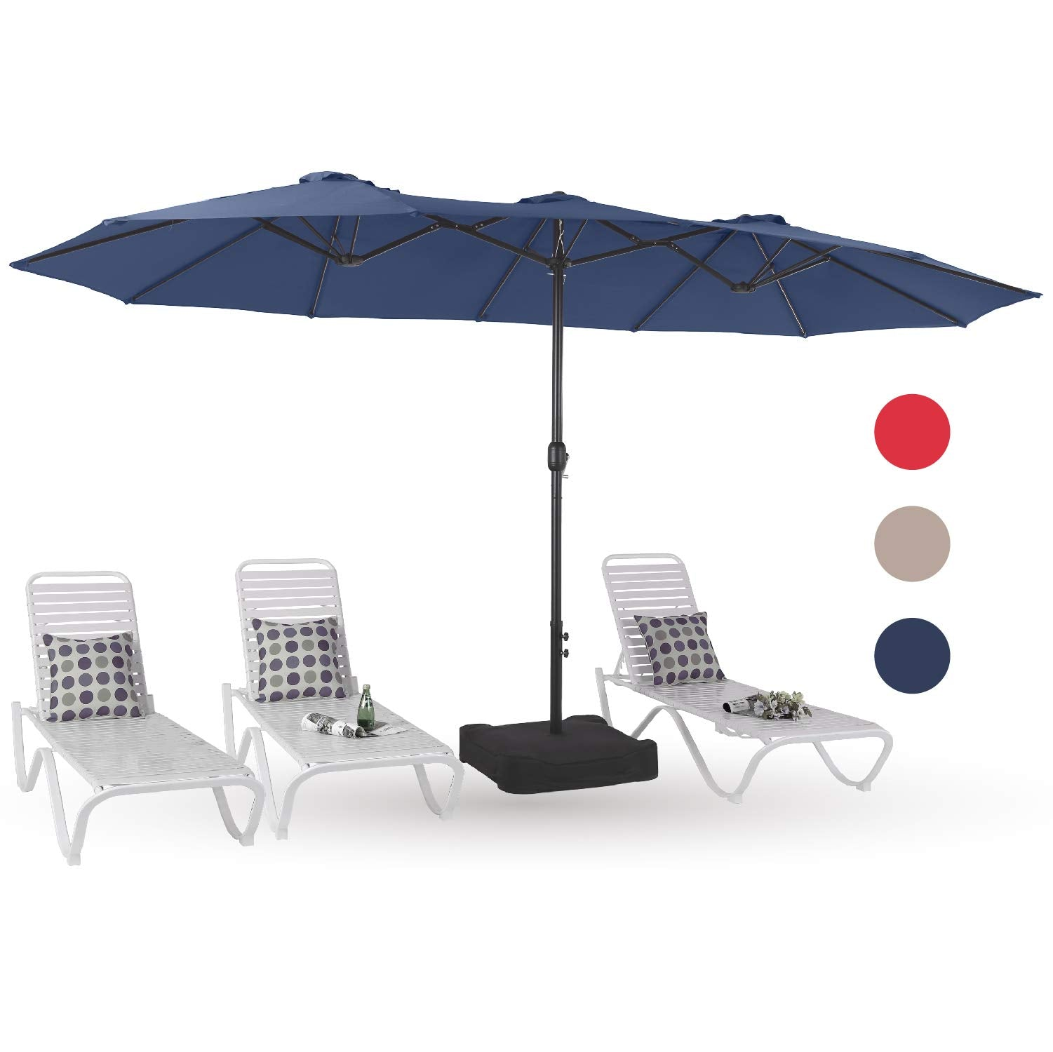 Alphamarts coupon: PHI VILLA 15ft Double-Sided Extra Large Patio Twin Umbrella Navy