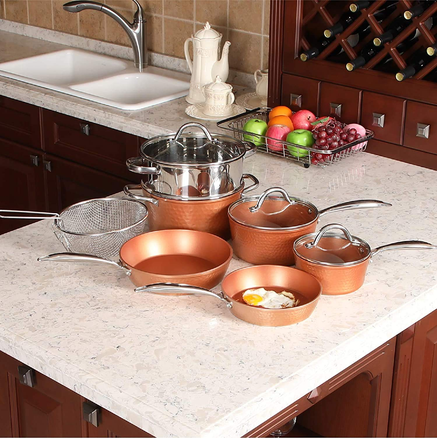 Alphamarts coupon: Kitchen Academy Red Copper Hammered Induction Cookware Set Nonstick 10 Piece-Hammered