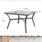 PHI VILLA Wood-look Pattern Metal Square Table & 4 Textilene Chairs 5-Piece Outdoor Dining Set