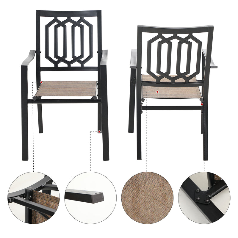 PHI VILLA 7 Piece Metal Outdoor Patio Dining Set - 1 Wood-look Table and 6 Textilene Chairs