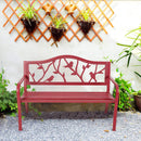 "Phi Villa 50"" Patio Garden and Park Bench, Steel Frame Porch Chair Seat, Red"