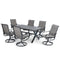 PHI VILLA Wood-look Pattern Rectangle Table & 6 Textilene Swivel Chairs 7-Piece Outdoor Dining Set