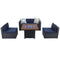 "PHI VILLA 5-Piece 34"" 50,000BTU Wood-look Gas Fire Pit Table & Rattan Wicker Sectional Sofa"