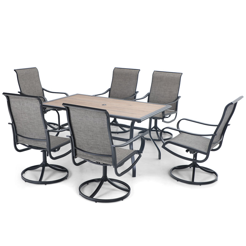PHI VILLA Wood-look Table and 6 Textilene Swivel Chairs 7-Piece Metal Outdoor Dining Set