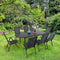 Phi Villa Metal Outdoor Patio Black Dining Set with Reclining Folding Sling Chair