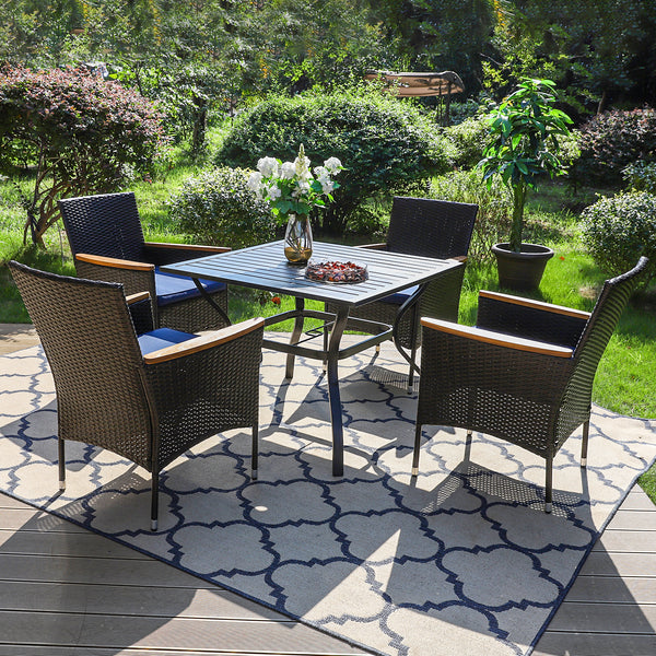 PHI VILLA Square Table & Rattan Cushioned Dining Chairs 5-Piece Outdoor Dining Set is $127 (20% off)