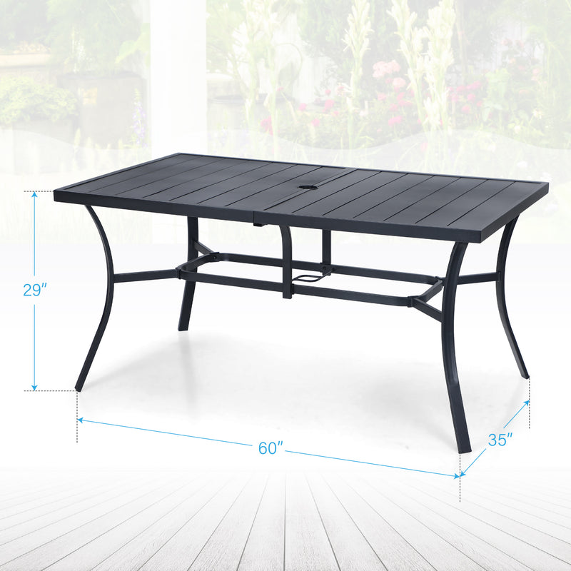 PHI VILLA 7-Piece C-Spring Chairs & Steel Panel Table Patio Dining Set
