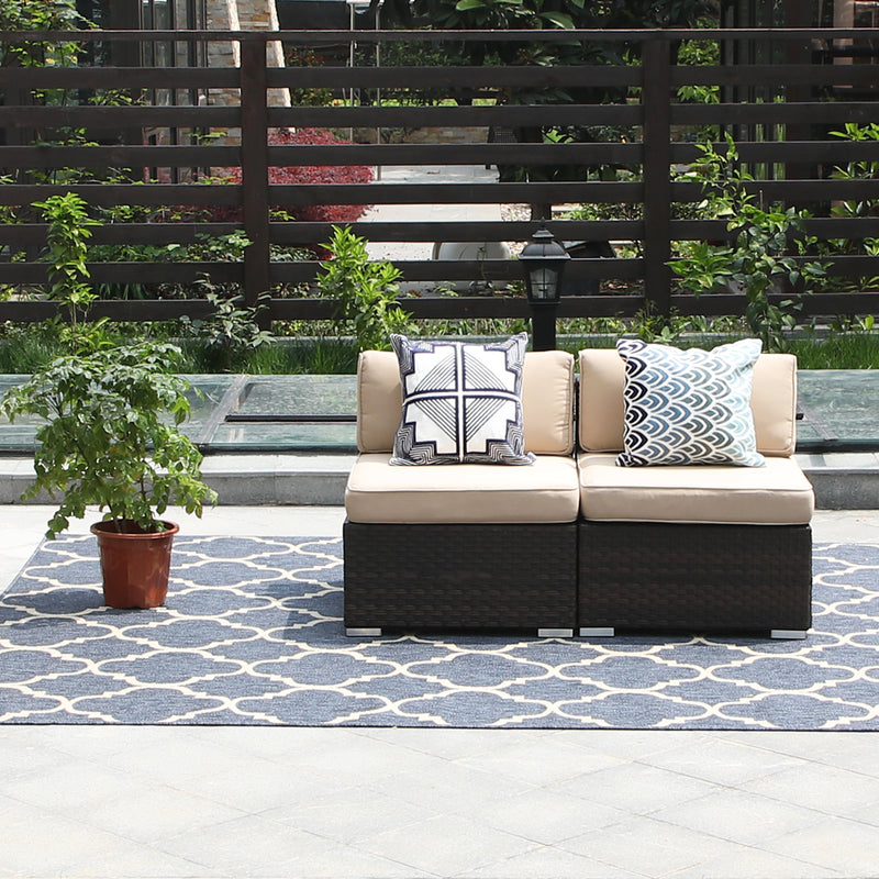 PHI VILLA Beige Patio Outdoor Sectional Sofa