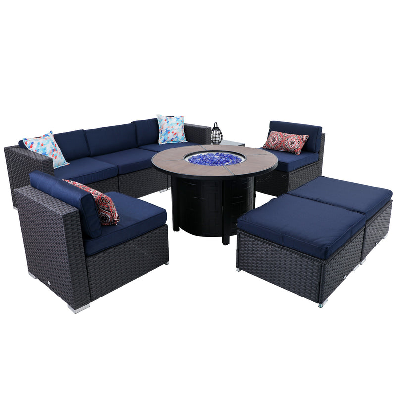 "PHI VILLA Gas Fire Pit Wood-look Round Table  40"" 50,000BTU & Rattan Wicker Sectional Sofa 9-Piece Set"