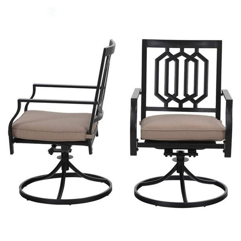 PHI VILLA Square Side Table and 2 Stripe Chairs 3 Piece Metal Steel Outdoor Patio Bistro Set