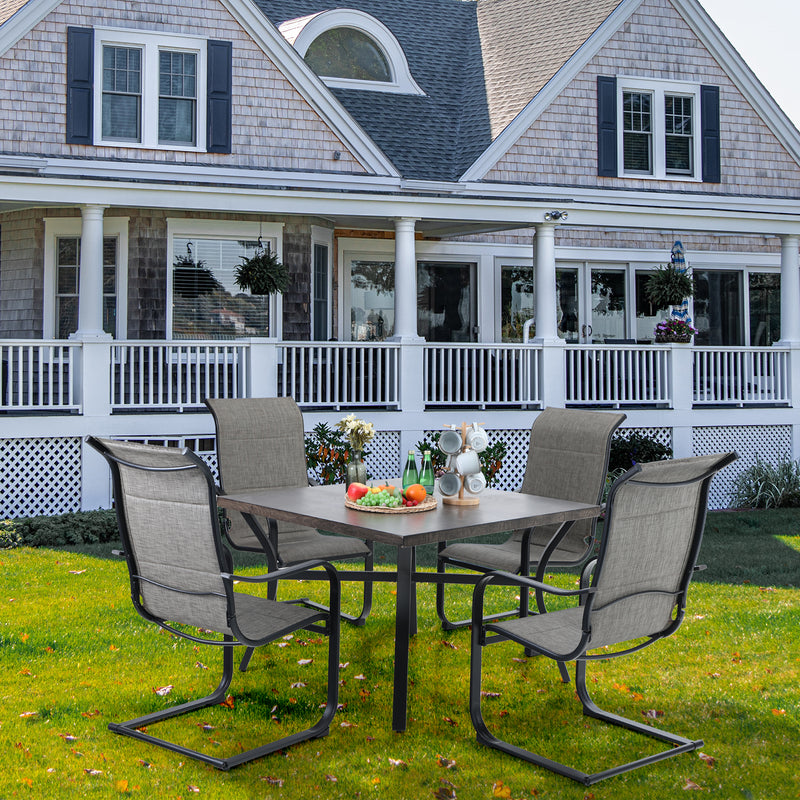 PHI VILLA Wood-look Pattern Metal Square Table & 4 Textilene C-Spring Chairs 5-Piece Outdoor Dining Set
