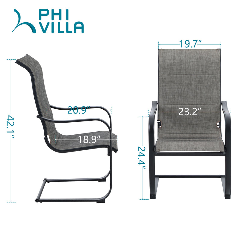 "PHI VILLA 5-Piece 28"" 50,000BTU Metal Steel Gas Fire Pit  Square Table & 4 Textilene Chairs with Wave Armrests"