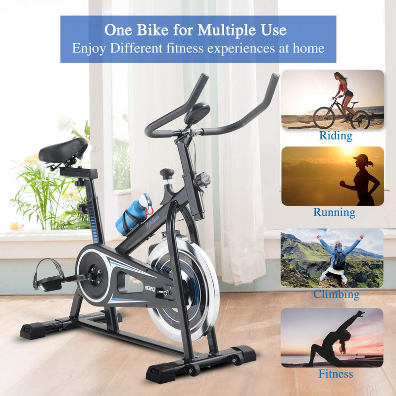 Alpha Sports Indoor Stationary Belt Drive Exercise Cycling Bike