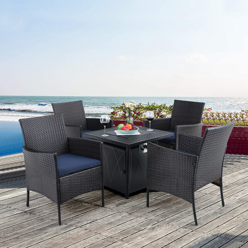 PHI VILLA 5-Piece Metal Gas Fire Table & 4 Rattan Chairs Patio Dining Set