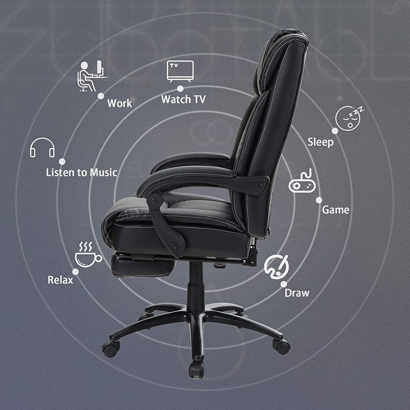 PHI VILLA Tall Bonded Ergonomic Leather Recliner Office Chair