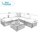 PHI VILLA 6-Piece Wicker Outdoor Sectional Sofa