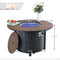 PHI VILLA Round Propane Fire Pit Table & Rattan High Back Dining Chairs 5-Piece Patio Furniture Set