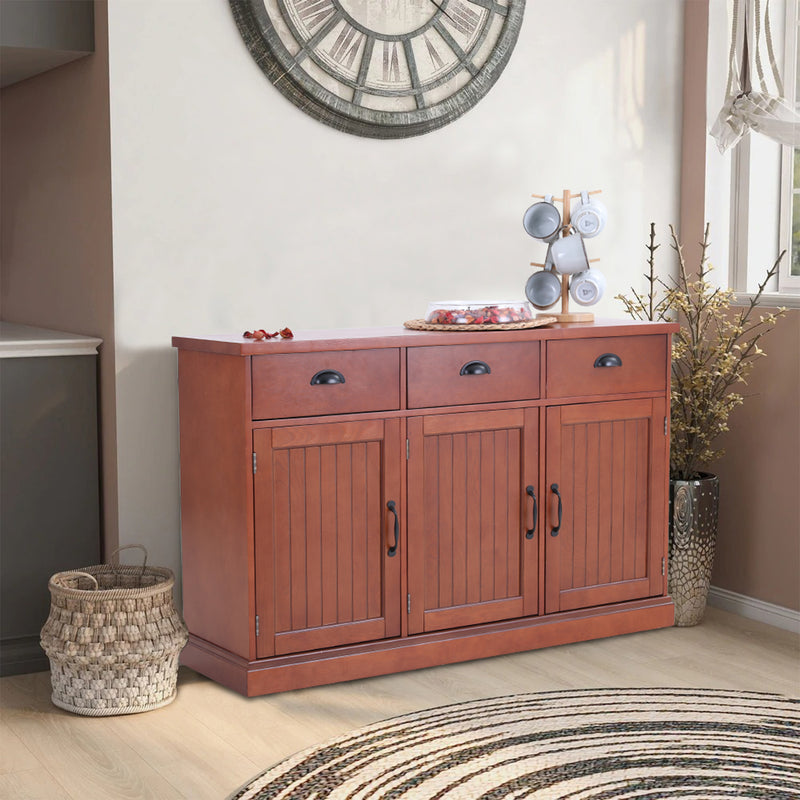 PHI VILLA Farmhouse 3-Door & 3-Drawer Sideboard Accent Buffet Cabinet