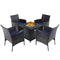 PHI VILLA Gas Fire Table & 4 Rattan Chairs 5-Piece Metal Patio Dining Set