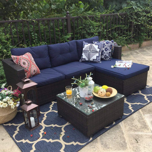 3-Piece Phi Villa Outdoor Rattan Sectional Sofa (Blue)